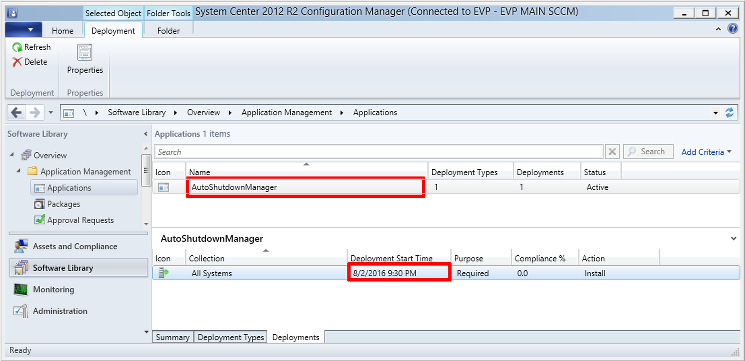 SCCM based software deployment scheule