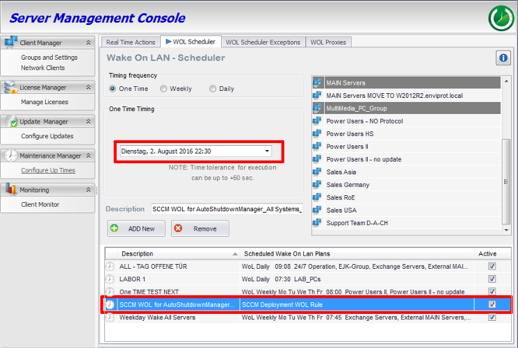 SCCM based software deployment processed in Auto Shutdown Manager WOL Scheduler